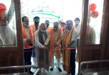 BJP leaders inaugurating newly renovated temple at Trikuta Nagar on Wednesday.