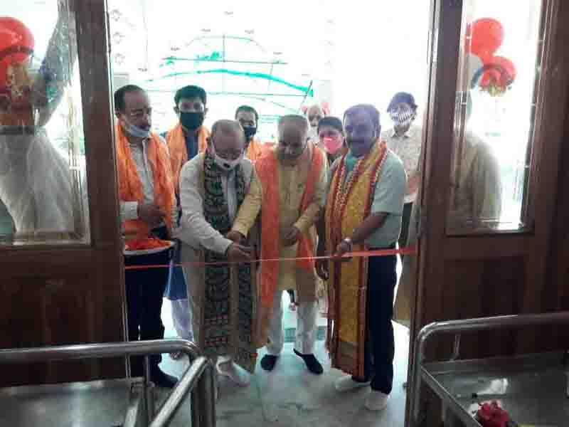 BJP leaders inaugurating newly renovated temple at Trikuta Nagar on Wednesday.