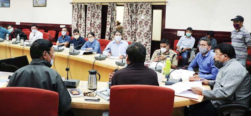 CEC LAHDC, Leh Gyal P Wangyal chairing a meeting on Monday.