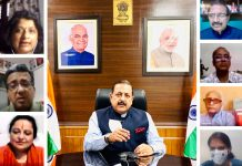 Union Minister Dr Jitendra Singh, as chief guest, addressing the valedictory session of the online two-week Refresher Course on Journalism organized by Delhi University, on Saturday.