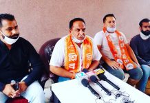 Shiv Sena leaders addressing a press conference at Jammu on Saturday.