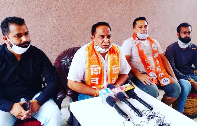 Shiv Sena leaders addressing a press conference at Jammu on Saturday.