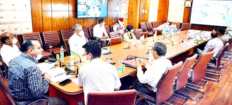 Commissioner Secretary, Labour & Employment Department, Saurabh Bhagat chairing a meeting on Tuesday.