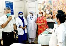 Administrator, GMC & AHs Jammu, Amit Sharma interacting with Matron and her team at SMGS Hospital, Jammu.