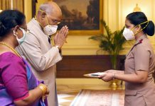 President, Ram Nath Kovind celebrating Raksha Bandhan with nurses of The Trained Nurses' Association of India, Military Nursing Service and President's Estate Clinic on Monday. (UNI)