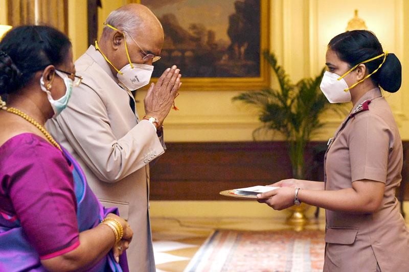 President, Ram Nath Kovind celebrating Raksha Bandhan with nurses of The Trained Nurses' Association of India, Military Nursing Service and President's Estate Clinic on Monday. (UNI)