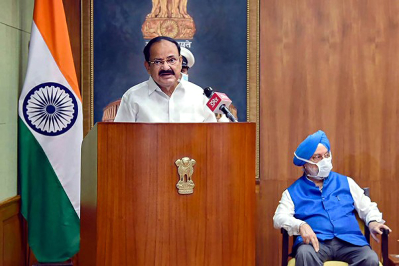 Vice President M Venkaiah Naidu addresses after virtually laying the foundation stone for a housing complex for Rajya Sabha employees, in New Delhi.