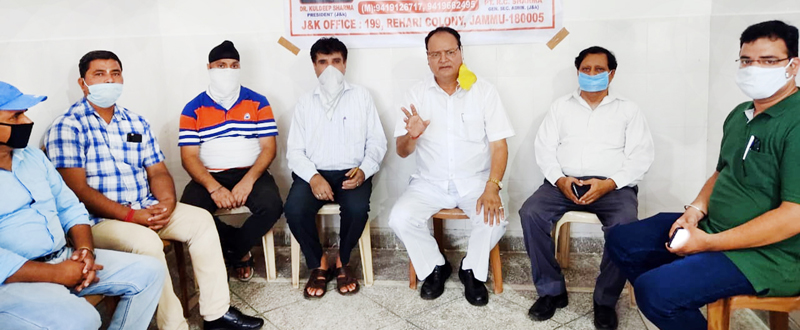 AIPP leaders at a press conference at Jammu on Wednesday.