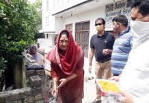Corporator of Ward No. 60, Rajni Bala launching slab work on nullah in Lower Basant Nagar near Paloura in Jammu on Thursday.