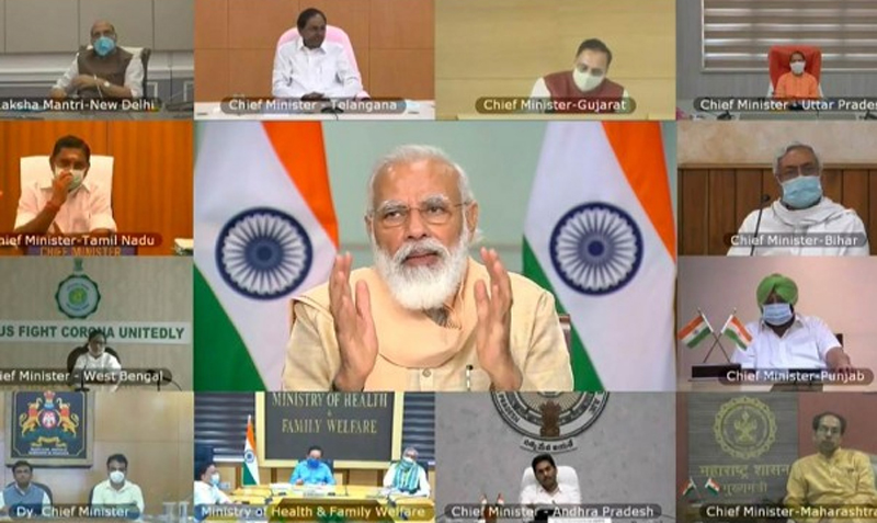 Prime Minister Narendra Modi speaks during a discussion with the Chief Ministers of 10 states via video conferencing on COVID-19 situation, in New Delhi on Tuesday.