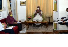 Lieutenant Governor Manoj Sinha chairing meeting on COVID-19 situation in Srinagar on Saturday.