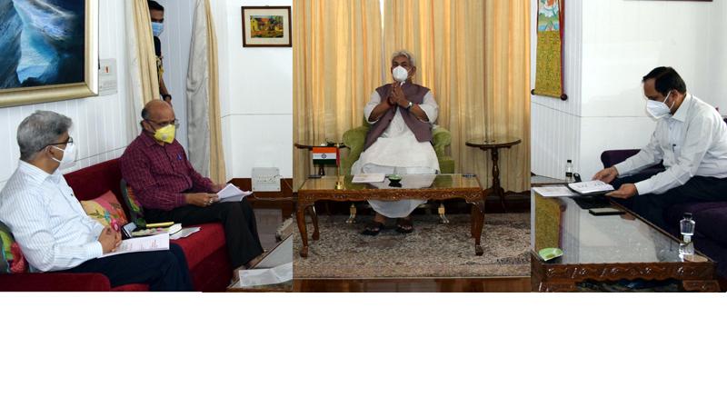 Lieutenant Governor Manoj Sinha chairing meeting on COVID-19 situation in Srinagar on Saturday.