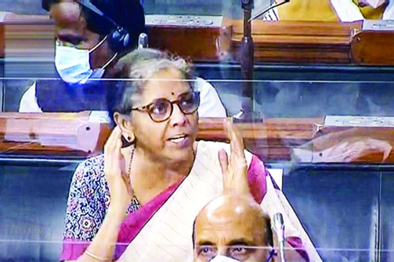 Union Finance Minister Nirmala Sitharaman speaks in the Lok Sabha during the opening day of Monsoon Session of Parliament.