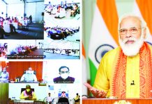 Prime Minister, Narendra Modi dedicating to the Nation Namami Gange Development Projects in Uttarakhand through video conference, in New Delhi on Tuesday.