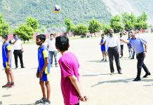 Officials of Inter Zonal District Level tournament directing players during a game at Ramban.