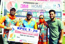 Dignitaries of the tournament presenting Man of the Match award during KPCL at KC Sports Club Jammu.