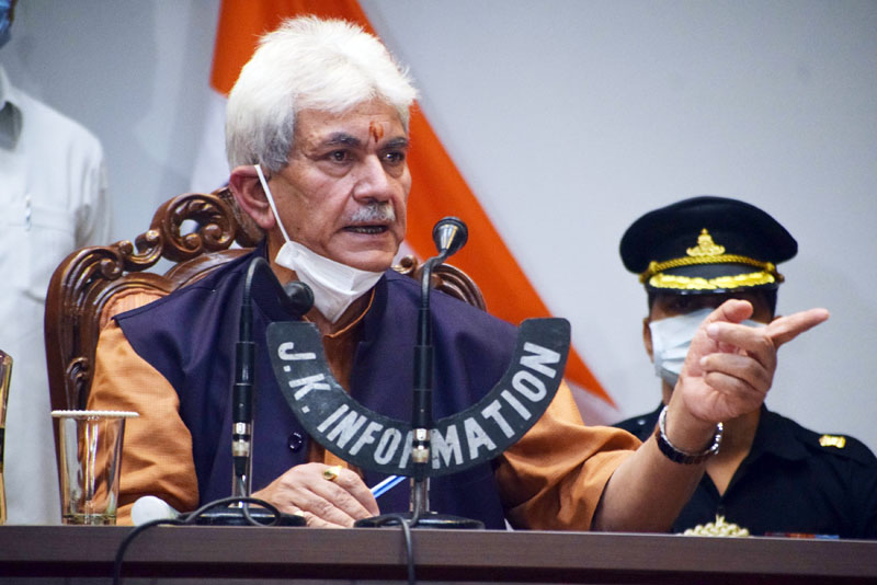 Lieutenant Governor Manoj Sinha addressing a press conference in Srinagar on Friday. -Excelsior/Shakeel