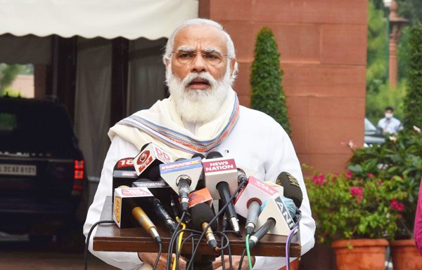 Prime Minister Narendra Modi addressing media perons on opening day of Monsoon session at Parliament House in New Delhi on Monday. (UNI)