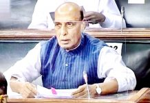 Defence Minister Rajnath Singh addressing the Lok Sabha on Tuesday.