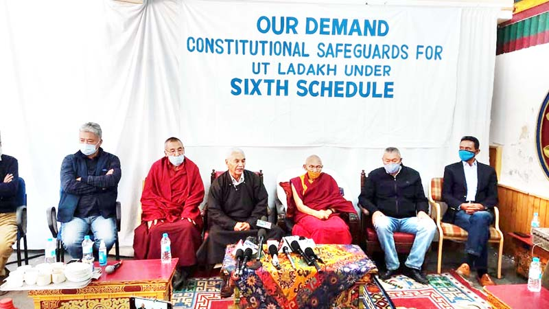 People's Movement leaders at a press conference in Leh on Tuesday. -Excelsior/Morup Stanzin