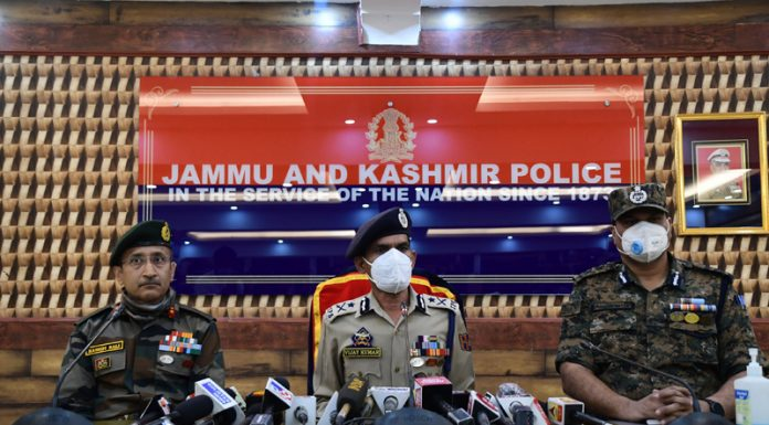 IGP Kashmir along with CRPF and Army officers addressing a press conference in Srinagar. — Excelsior/Shakeel
