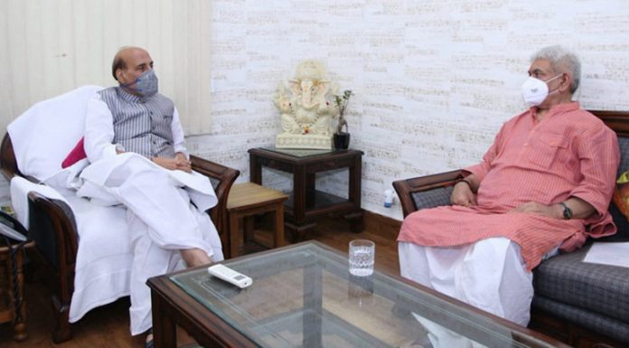 Lieutenant Governor Manoj Sinha meets Defence Minister Rajnath Singh in New Delhi on Saturday.