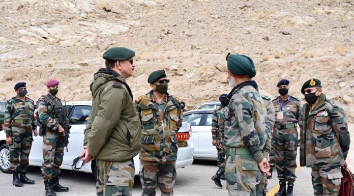 Army chief Gen M M Naravane during visit to Leh on Friday.