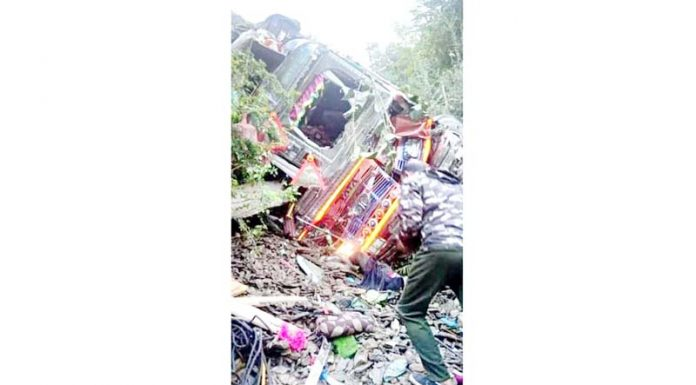 Ill-fated truck after accident at Digdol in Ramban District on Jammu-Srinagar National Highway. -Excelsior/Pervaiz