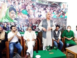 PDP leaders during a meeting in Srinagar on Wednesday.-Excelsior/ Shakeel