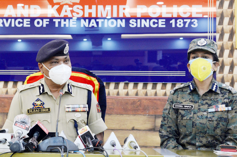 DGP Dilbag Singh along with CRPF IG Charu Sinha addressing a press conference in Srinagar. -Excelsior/Shakeel