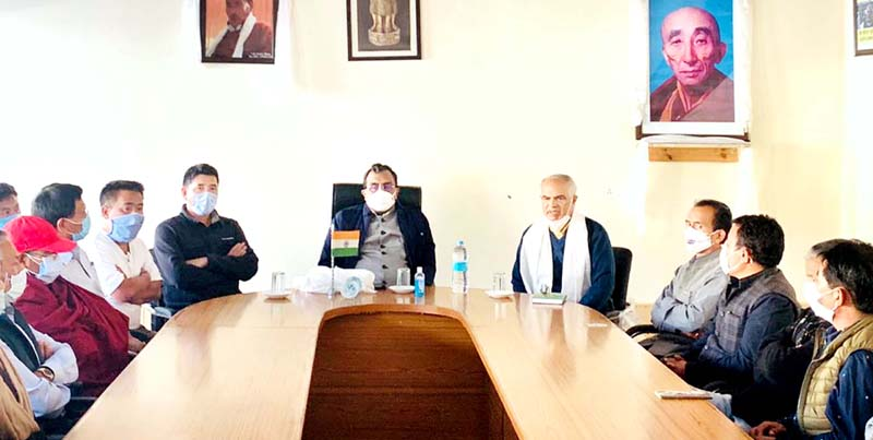 BJP national general secretary, Ram Madhav and Party J&K general secretary (org) Ashok Kaul in a meeting with party leaders at Leh on Thursday. -Excelsior/Morup Stanzin