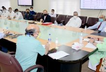Lieutenant Governor Manoj Sinha chairing a meeting in Srinagar on Friday.