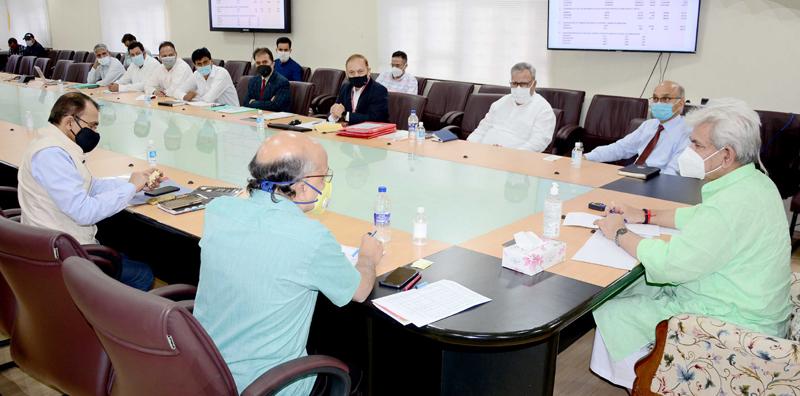 Lieutenant Governor Manoj Sinha chairing a meeting in Srinagar on Friday.