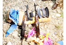 Arms and ammunition recovered at Sohal Khud in Akhnoor on Tuesday.