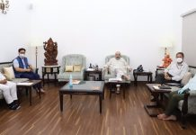 Union Home Minister Amit Shah in a meeting with Ladakh leaders on Saturday.