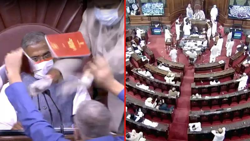 Bedlam in Rajya Sabha as two key farm bills were passed on Sunday.