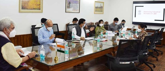Lieutenant Governor Manoj Sinha reviewing functioning of Industries & Commerce Department in Srinagar on Thursday.