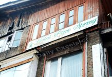Hotel Pine spring which was raided by the IT sleuths in Srinagar on Wednesday.-Excelsior/Shakeel