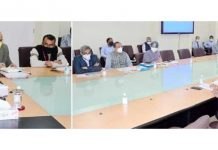 Lieutenant Governor Manoj Sinha reviewing winter preparedness of various departments in Srinagar on Tuesday.