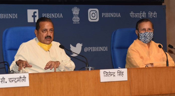 Union Ministers Prakash Javadekar and Dr Jitendra Singh at a press conference in New Delhi on Wednesday.