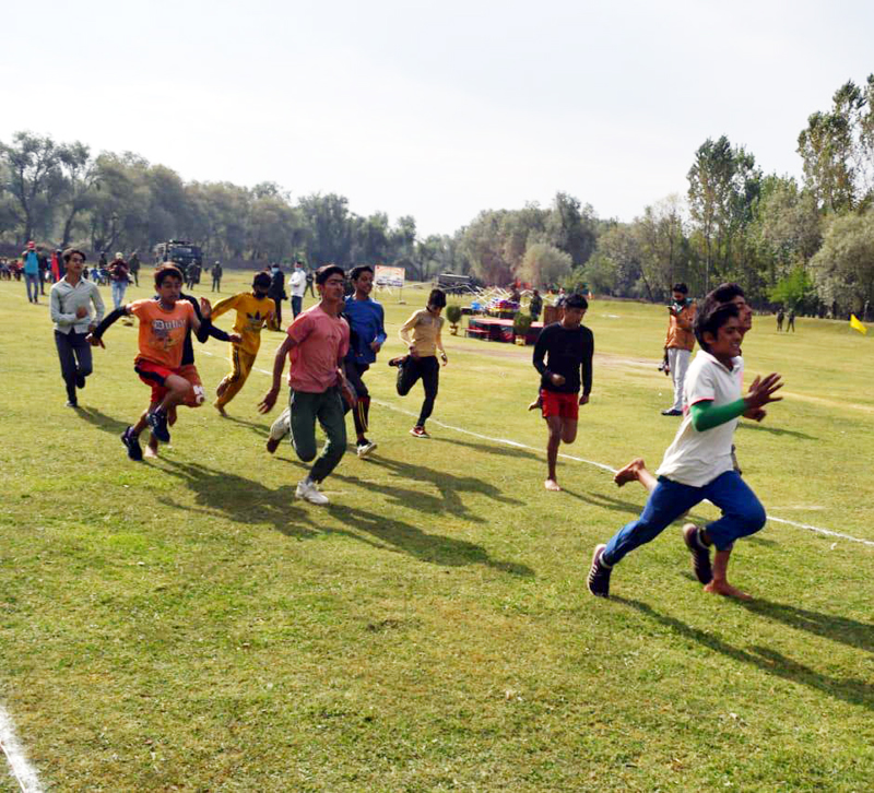 Youth in action during Wular Run organised by Army at Baramulla.