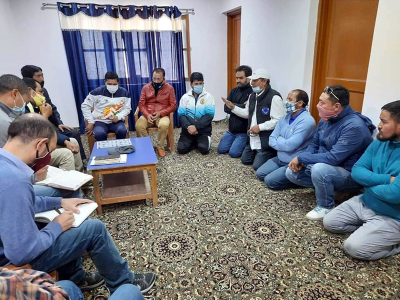 Members of KISS Club discussing issues with Secretary Youth Services and Sports.-Excelsior/Basharat Ladakhi
