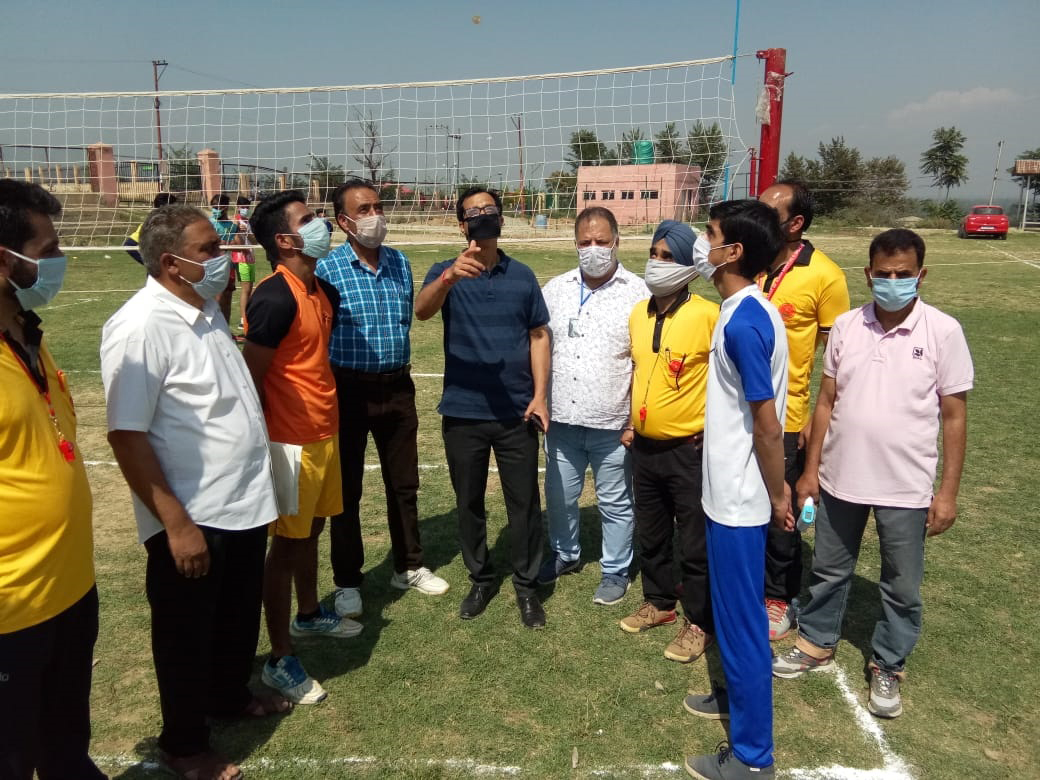 DYSSO, Sunil Singh Sambyal interacting with Volleyball players during tournament at Budgam.