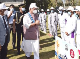 LG Manoj Sinha interacting with players during the opening match of Police Premier League at Srinagar.