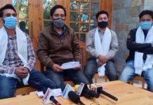 Newly elected office bearers of District Cricket Association Kargil addressing media persons at Kargil on Monday. Excelsior/Bashrat Ladakhi