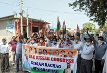 Farmers and members of All J&K Kissan Congress raising slogans during protest.