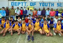 Winning teams players posing for a group photograph along with dignitaries at Khel Gaon Nagrota, Jammu.