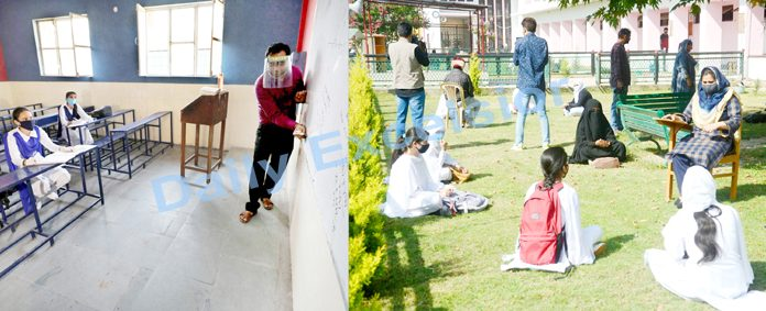 A few students attending optional classes as schools re-open in Jammu (left) and Srinagar (right) on Monday.— Excelsior pics by Rakesh & Shakeel