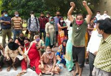 The family and relatives of a 4-year-old boy staging protest in Jammu on Saturday. -Excelsior/Rakesh