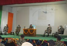 DG CRPF Dr A P Maheshwari addressing the personnel of the Force during Sainik Sammelan at GC CRPF Bantalab, Jammu.